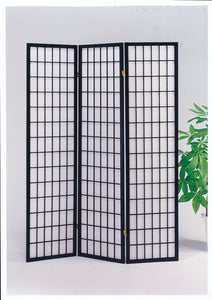 3-Panel Wooden Screen, Black
