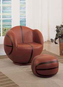 All Star 2 Piece Pack Chair & Ottoman, Basketball: Brown & Black