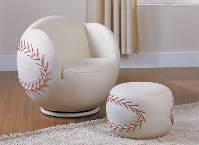 All Star 2 Piece Pack Chair & Ottoman, Baseball: White
