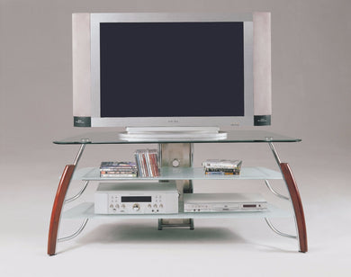 TV Stand, Brown Cherry & Chrome