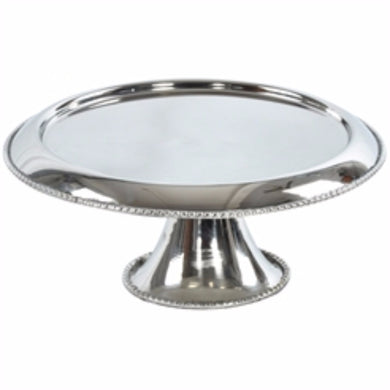 Stainless Steel Footed Cake Plate, Silver