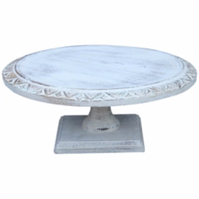 Wooden Footed Cake Stand, Light Blue