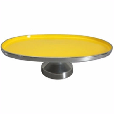 Simply Designed Aluminum Footed Platter, Yellow