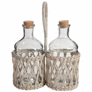 Vintage Wicker Liquor And Wine Bottle Basket with Carrier, Clear And Brown