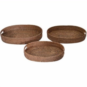 Wood And Rattan Trays, Set of 3, Brown