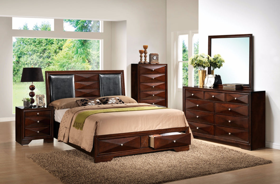 Modern Style King Size Storage Bed With Panel Headboard, Brown