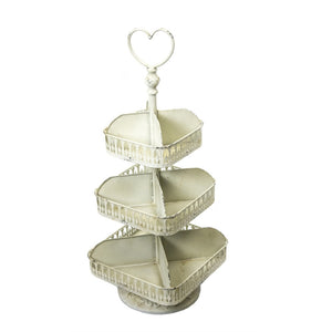 Metal 3 Tiered  Divided Tray With Heart Handle, Off-White