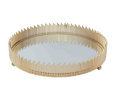 Royal Glass & Metal Unique Round Tray, Gold