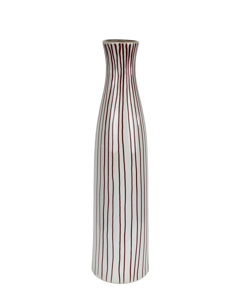 DECORATIVE BOTTLE SHAPED CERAMIC VASE, Brown And White