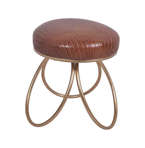 COMFORTING LEATHER STOOL, GOLD and BROWN
