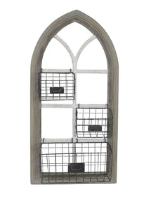 WOOD GOTHIC WALL ORGANIZER WITH METAL BASKETS, MULTICOLOR