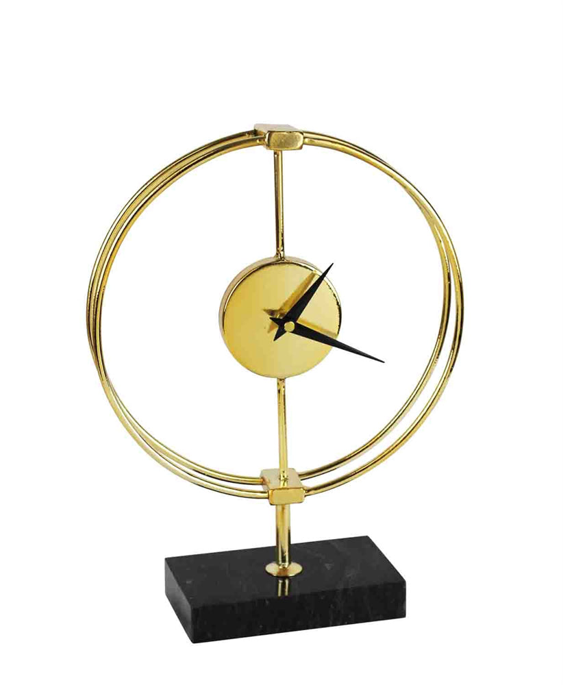 CHIC METAL TABLE CLOCK ON STAND, GOLD AND BLACK
