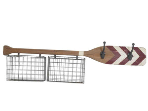 NAUTICAL WOOD PADDLE WALL ORGANIZER WITH HOOKS, BROWN