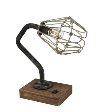 METAL INDUSTRIAL LED DESK LAMP WITH WOODEN BASE, BROWN AND BLACK
