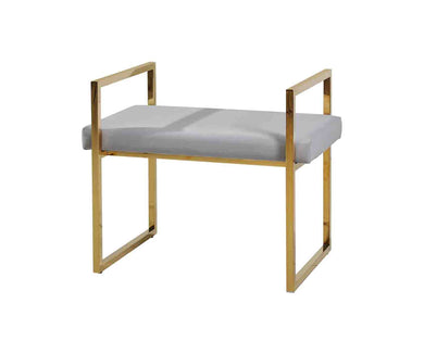 CONTEMPORARY STYLE VANITY BENCH, GOLD AND GRAY
