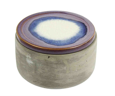 WELL DESIGNED CEMENT JAR WITH PURPLE LID, MULTICOLOR