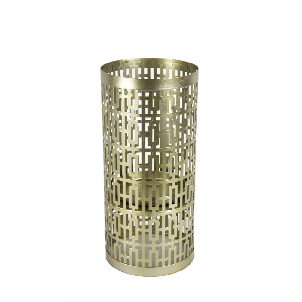 Geometrical Patterned Cylindrical Candle Holder, Gold