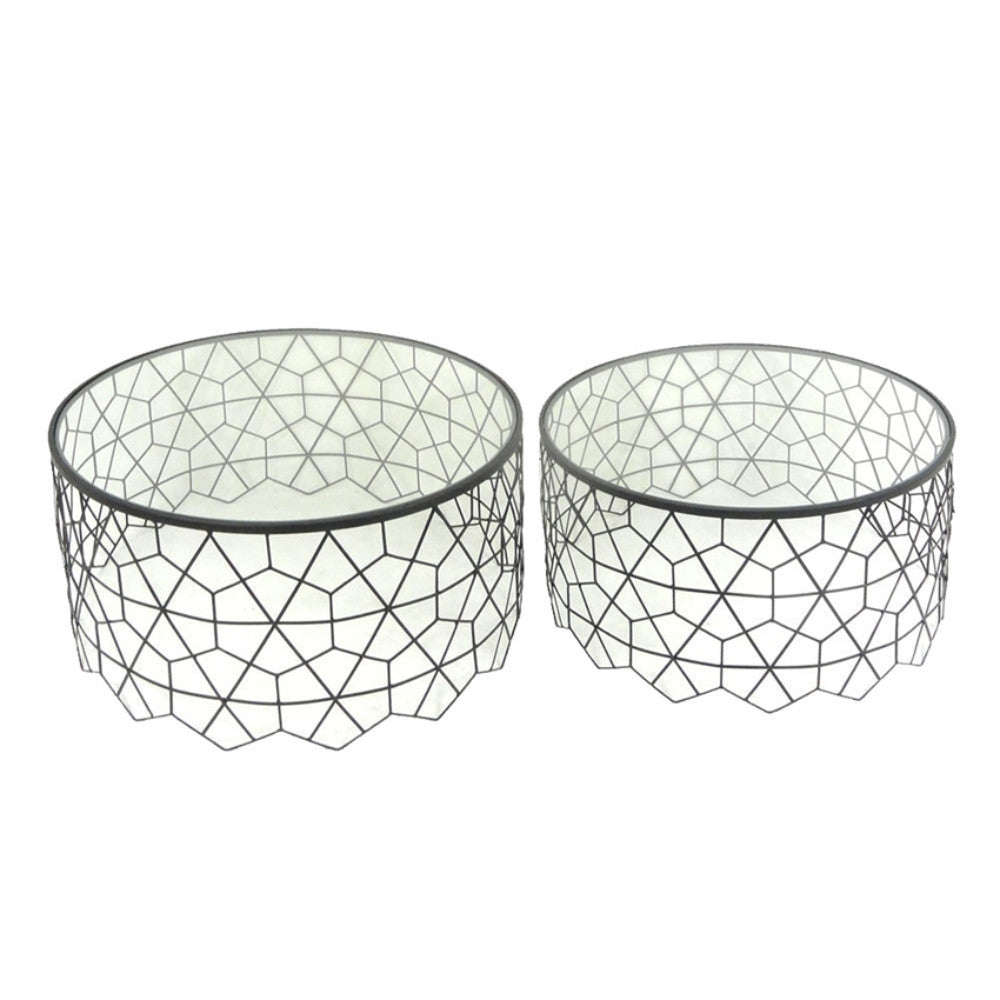 Hexagonal Patterned Metal And Glass Accent Tables, Set Of Two , Black