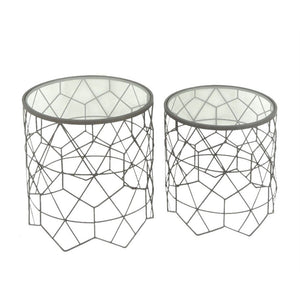 Enticing Metal And Glass Round Tables, Set Of Two, Black