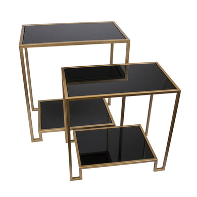 Set Of Two Accent Tables With Bottom Shelf, Bronze And Black
