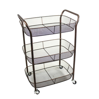Stylish 3 Tiered Metal Rolling Cart, Bronze