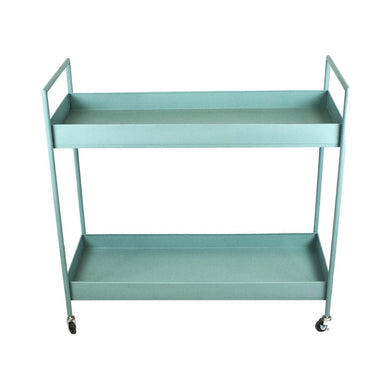 Tantalizing Metal Bar Cart With Elevated Handles, Green