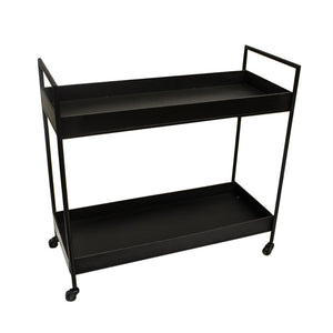 Notable Metal Bar Cart With Two Shelves, Black