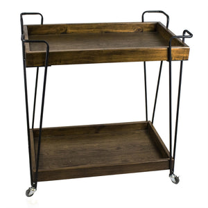 Super Efficient Metal And Wood Bar Cart, Brown And Black