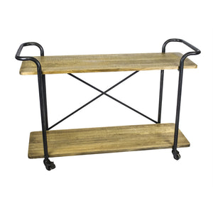Minimalistic Two Tiered Bar Cart, Brown And Black
