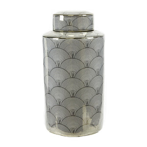 Swirl Patterned Decorative Lidded Jar, White & Gold