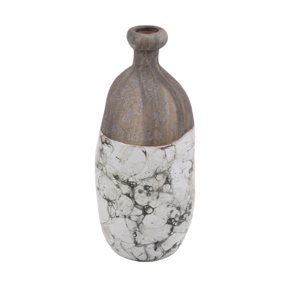 Marbled Ceramic Vase With Wooden Top, Brown And White