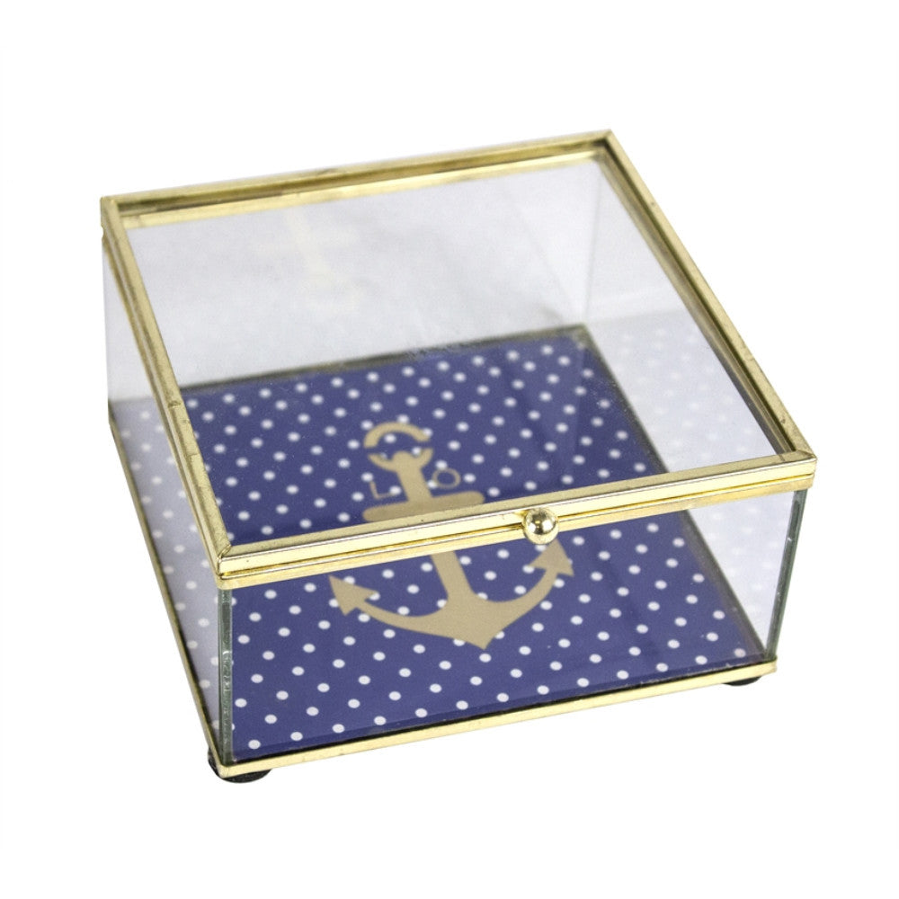 Astonishing Anchor Design Glass Decorative Box, Clear And Gold