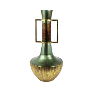 Tall Antique Metallic Urn With Handles, Bronze
