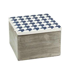Distressed Cement Box With Blue Lid