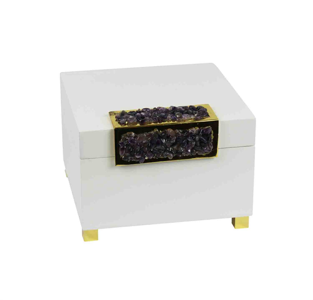 Designer Wooden Box With Stone Accent, White