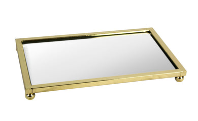 Unique Serving Tray Beveled Glass, Gold