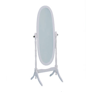 Wooden Oval Cheval Floor Mirror, White Finish