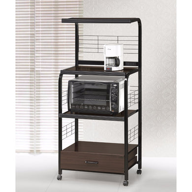 Wood and Metal Kitchen Cart On Casters, Brown and Black