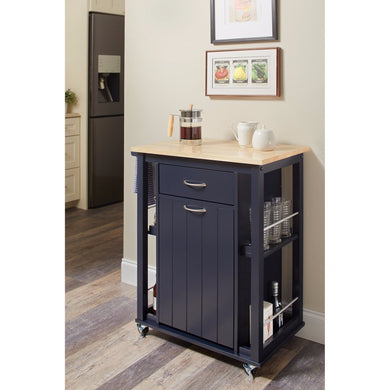 Transitional Kitchen Cart with Casters, Blue