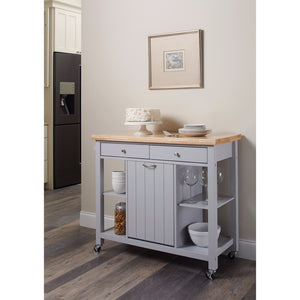 Modish Kitchen Cart with Casters, Light Gray