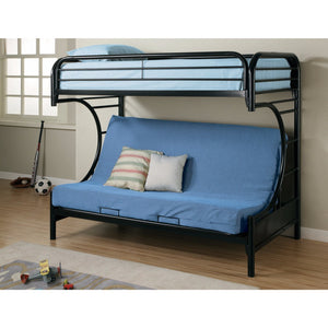Casual Style Twin Over Futon Bunk Bed, Black