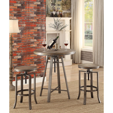 Contemporary Bar Table with Swivel Adjustable Height Mechanism, Brown