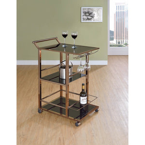 Useful Metal And Glass Serving Cart with Wine Storage, Black