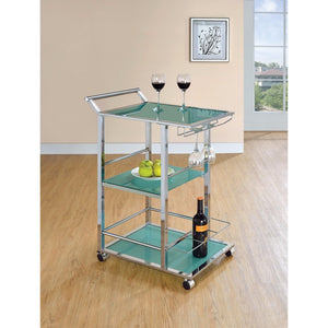 Well-designed Metal And Glass Serving Cart with Wine Storage, Green