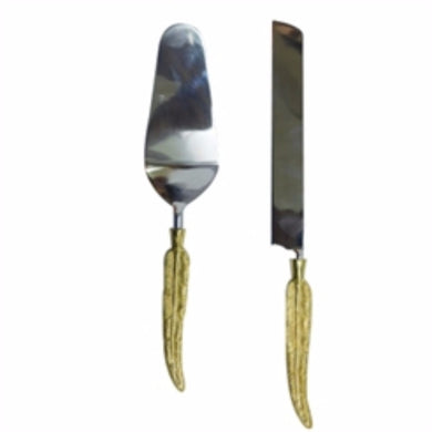 Well-Designed Metal Cake Server In Box, Set Of 2, Silver And Gold