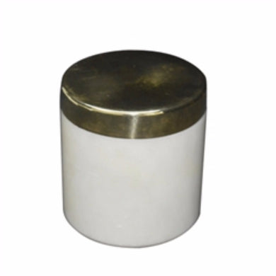 Traditional Marble Jar With Brass Lid,  White And Gold