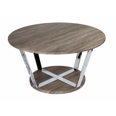 Aesthetic Round Metal Cocktail Table, Brown And Silver