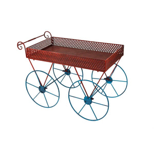 Wagon Inspired Metal Cart, Red  And Blue