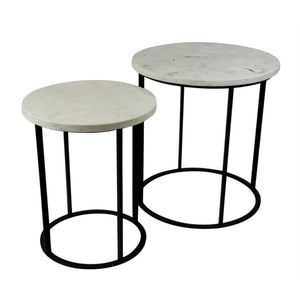 Glamorous Set Of Two Faux Marble And Metallic Side Tables, Black