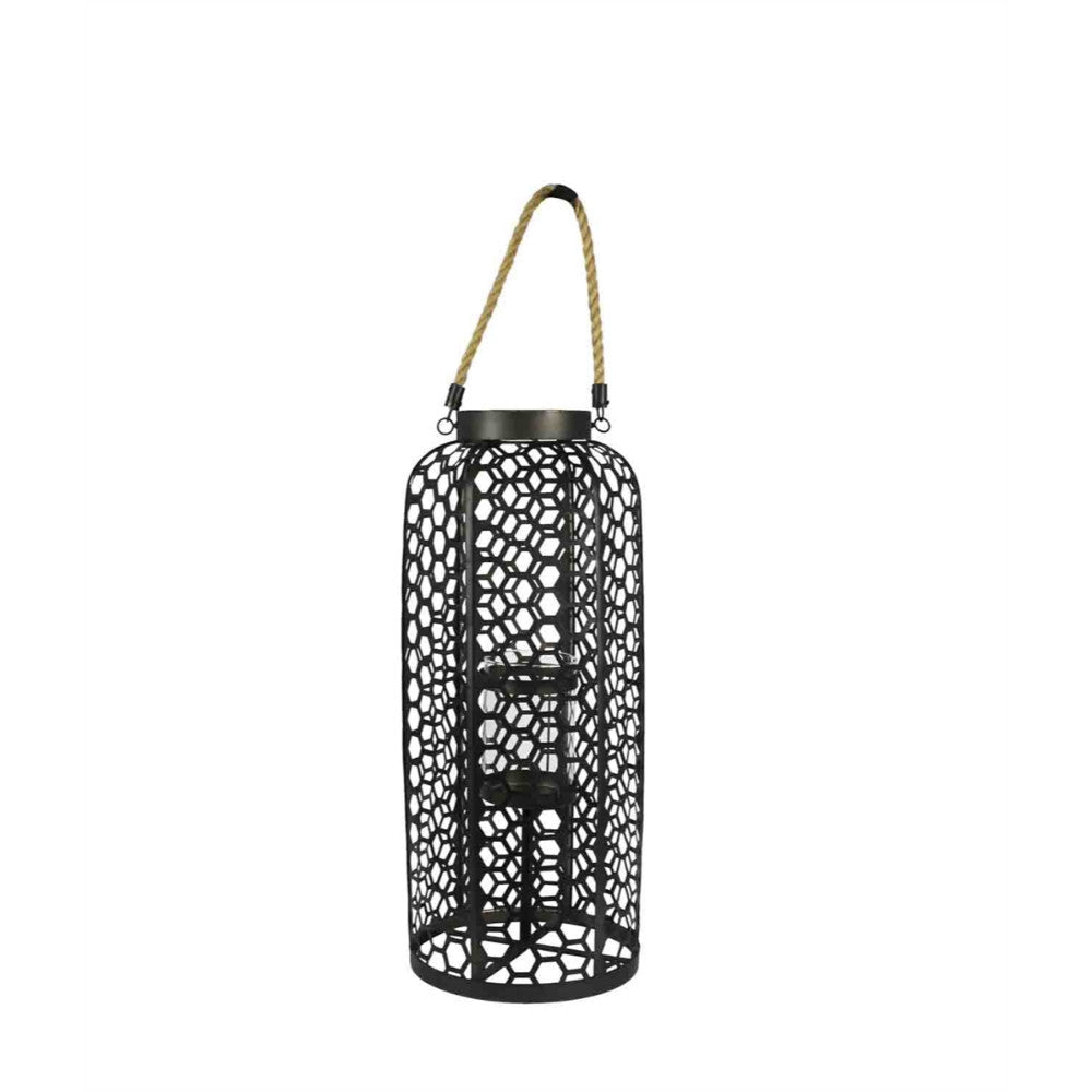 Decorative Rattan Lantern With Rope Handle, Black